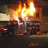 Photo - Overnight fire in downtown Wewoka. Photo provided by Stu Phillips, Wewoka Times