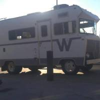 Photo -  Merry's Winnebago she uses as a pop-up shop. Traveling bras!