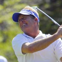 Photo -   Fred Funk tees off on the seventh hole during the second round of the Greater Hickory Classic Champions Tour golf tournament at Rock Barn in Conover, N.C., Saturday, Oct. 13, 2012. (AP Photo/Robert Reed)