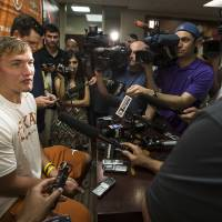 Photo - Texas NCAA college football quarterback David Ash speaks to the media during a press conference after practice on Monday, Aug. 4, 2014, in Austin, Texas. (AP Photo/Austin American-Statesman, Ricardo B. Brazziell)  AUSTIN CHRONICLE OUT, COMMUNITY IMPACT OUT, INTERNET AND TV MUST CREDIT PHOTOGRAPHER AND STATESMAN.COM, MAGS OUT