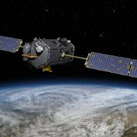 Photo - This May 15, 2014, artist concept rendering provided by NASA shows their Orbiting Carbon Observatory (OCO)-2. The OCO-2, managed by NASA's Jet Propulsion Laboratory in Pasadena, Calif., will launch from Vandenberg Air Force Base, Calif., on a Delta II rocket on July 1, 2014. OCO-2 is managed by JPL for NASA's Science Mission Directorate, Washington. Orbital Sciences Corporation, Dulles, Va., built the spacecraft and provides mission operations under JPL's leadership. The California Institute of Technology in Pasadena manages JPL for NASA. (AP Photo/NASA/JPL-Caltech)