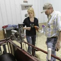 Photo - Yukon High School senior Kaylen Baker and the school's ag teacher, Tim Herren, make last minute preparations for one of Baker's hogs,