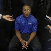 Photo - Duke running back Josh Snead speaks with reporters during an NCAA college football media day in Durham, N.C., Monday, Aug. 4, 2014. (AP Photo/Gerry Broome)
