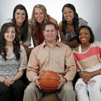 Photo - The Oklahoman's Super 5 girls high school basketball players and coach: from left, top row, Taylor Cooper of Shawnee, Alie Decker of Edmond Memorial, Kelsee Grovey of Shawnee; bottom row, Lakota Beatty of Anadarko, Coach Mike Barton of Fairview and Courtney Walker of Edmond Santa Fe, photographed at the OPUBCO studio in Oklahoma City, Wednesday, March 28, 2012. Photo by Nate Billings, The Oklahoman