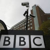 Photo -   Cameras are seen above a sign at the BBC Television Centre, in London Wednesday, Oct. 24, 2012. The BBC is facing questions over sexual abuse allegations against former television presenter Jimmy Savile. (AP Photo/Kirsty Wigglesworth)