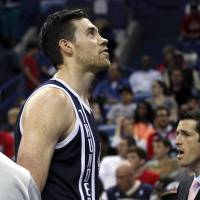 Photo - Oklahoma City Thunder forward Nick Collison reacts after being ejected from the game for scuffling with New Orleans Pelicans guard Austin Rivers in the first half of an NBA basketball game in New Orleans, Monday, April 14, 2014. The Pelicans won 101-89. (AP Photo/Gerald Herbert)