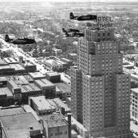 Photo - AIRPLANE, AIRPLANES, PLANE, PLANES, BILTMORE HOTEL: Aerial view of downtown Oklahoma City.