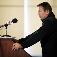 Photo - COLLEGE FOOTBALL: OU head coach Bob Stoops speaks to the media during his during spring football press conference in the stadium club of Gaylord Family-Oklahoma Memorial Stadium on the campus of the University of Oklahoma in Norman, Okla., Monday, March 5, 2012. Photo by Nate Billings, The Oklahoman