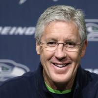 Photo - Seattle Seahawks head coach Pete Carroll speaks at an NFL football news conference Thursday, Jan. 16, 2014, in Renton, Wash. The Seahawks are to play the San Francisco 49ers on Sunday in the NFC championship game. (AP Photo/Elaine Thompson)