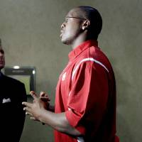 Photo - Oklahoma's Gerald McCoy is interviewed during the Big 12 Conference Football Media Days in Irving, Texas, Tuesday, July 28, 2009. Photo by Bryan Terry, The Oklahoman