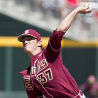 Photo -   Florida State starting pitcher Brandon Leibrandt delivers against Arizona in the first inning of an NCAA College World Series baseball game in Omaha, Neb., Thursday, June 21, 2012. (AP Photo/Nati Harnik)
