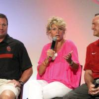 Photo - University of Oklahoma head coaches from left, Bob Stoops, Sherri Coale and Lon Kruger speak during the 2013 Sooner Caravan on Wednesday, July 31, 2013 at the Cox Convention Center. Photo by Aliki Dyer/ The Oklahoman
