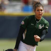 Photo - USF's Sara Nevins pitches during a Women's College World Series game between Louisiana State University and the University of South Florida at ASA Hall of Fame Stadium in Oklahoma City, Saturday, June 2, 2012.  Photo by Garett Fisbeck, The Oklahoman
