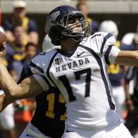 Photo -   Nevada quarterback Cody Fajardo (17) drops back to pass against California during the first half of an NCAA college football game, Saturday, Sept. 1, 2012, in Berkeley, Calif. (AP Photo/Ben Margot)