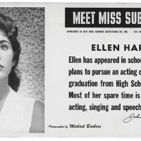 """Photo -   This image provided by the MTA courtesy of the New York Transit Museum shows Ellen Hart, who appeared on placards in the New York City subways during March and April of 1959 in the """"Meet Miss Subways"""" campaign that ran for 35 years as eye candy to bring attention to other advertisements in New York's transit system."""