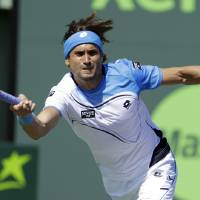 Photo - David Ferrer, of Spain, returns to Tommy Haas, of Germany, during a semifinal match at the Sony Open tennis tournament, in Key Biscayne, Fla., Friday, March 29, 2013. (AP Photo/Alan Diaz)