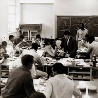 Photo - Below left: An Oklahoma State University professor instructs students at Alemaya University in Ethiopia in 1956.