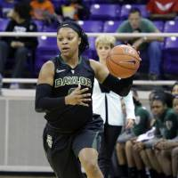 Photo - Baylor guard Odyssey Sims (0) dribbles the ball up court during the first half of an NCAA college basketball game against the TCU Saturday, Feb. 22, 2014, in Fort Worth, Texas. (AP Photo/LM Otero)