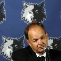 Photo - FILE - In this May 22, 2009, file photo, Minnesota Timberwolves owner and printing magnate Glen Taylor addresses the media during a news conference Minneapolis. Publisher Michael Klingensmith announced Tuesday, April 1, 2014 that Taylor has signed a letter of intent to buy the Minneapolis Star Tribune. Taylor told the Star Tribune he has made a cash offer without any other investors but declined to say how much. (AP Photo/The Star Tribune, Jim Gehrz, File)