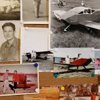 Photo - Photos from various periods in the lives of Leonard and Rita Eaves on a bulletin board in the Eaves' home. Leonard can be seen in the cockpit of the plane in center of photo.  Jim Beckel - THE OKLAHOMAN