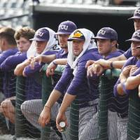 Photo - TCU players watch from the bench in the first inning of a game against Baylor in the Big 12 conference NCAA college baseball tournament in Oklahoma City, Saturday, May 24, 2014. (AP Photo/Sue Ogrocki)
