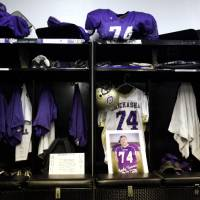 Photo - Kody Turner's locker is pictured inthe Chickasha locker room before the football game between Chickasha and Capitol Hill at Chickasha High School, Friday, Oct. 1, 2010, at the Bethany, Okla.  It was the first home game since the death of player Kody Turner. Photo by Sarah Phipps, The Oklahoman