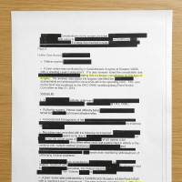 Photo -  Redacted documents requested from the OKC VA Medical Center regarding the suspension of their heart program.   DOUG HOKE -  THE OKLAHOMAN