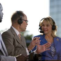 Photo - Gov.  Mary Fallin joins the TNT crew before game three of the Western Conference Finals in the NBA playoffs between the Oklahoma City Thunder and the San Antonio Spurs at Chesapeake Energy Arena in Oklahoma City, Thursday, May 31, 2012. Photo by Sarah Phipps, The Oklahoman