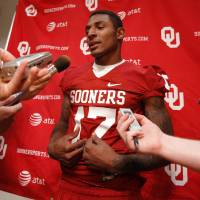 Photo - OU COLLEGE FOOTBALL: Trey Metoyer (17) speaks with the media during the Meet the Sooners event at the University of Oklahoma on Saturday, Aug. 4, 2012, in Norman, Okla.  Photo by Steve Sisney, The Oklahoman