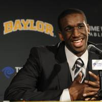 Photo - EDMOND, OK NATIVE: Baylor's Ekpe Udoh announces his intention to enter the 2010 NBA Draft during an NCAA college basketball news conference on Tuesday, April 13, 2010, in Waco, Texas. (AP Photo/Waco Tribune Herald, Rod Aydelotte) ORG XMIT: TXWAC101