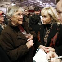 Photo - Sue Peery, Lexington, talks with Governor Mary Fallin about the plight of seniors as she tours the U.S. 77/SH39 bridge between Purcell and Lexington and announces plans to repair it  on Friday, Feb. 7, 2014 in Lexington, Okla.  Photo by Steve Sisney, The Oklahoman