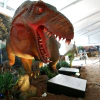Photo - A Yangchuanosaurus is one of the dinosaurs on display at a new exhibit at the Oklahoma City Zoo in Oklahoma City on Wednesday, March 11, 2008. By John Clanton, The Oklahoman ORG XMIT: KOD