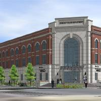 Photo - The city of Edmond released this architectural drawing of the new public safety  center to be built downtown. Images PROVIDED by the CITY OF EDMOND