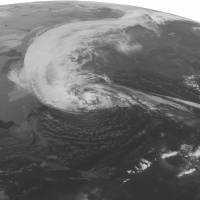 Photo -   This NOAA satellite image taken Monday, Oct. 29, 2012 at 1:45 a.m. EDT shows Hurricane Sandy turning to the to the north well east of Cape Hatteras, N.C. Maximum winds are 75 mph with slight strengthening possible in the next 12 hours. Sandy is spreading rain and high winds across the Mid Atlantic and New England and is expected to make landfall later today on the southern New Jersey coast. Wind gusts as high as 80 mph can expected from southern New England to the Washington area. Storm surges of 6 to 10 feet are expected in the New York City area, Long Island, and the New Jersey coast. Heavy snow will develop over the mountains of West Virginia, eastern Kentucky, and southwestern Virginia with 1-2 feet expected. (AP Photo/Weather Underground)