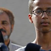 Ahmed Mohamed speaks during a news conference on Wednedsay in Irving, Texas. After being detained for building what a teacher thought was a bomb; it was an alarm clock