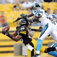 Photo -   Pittsburgh Steelers wide receiver Emmanuel Sanders (88) makes a catch past Carolina Panthers defensive back Reggie Smith (31) for a touchdown in the first quarter of their NFL preseason football game, Thursday, Aug. 30, 2012, in Pittsburgh. (AP Photo/Don Wright)