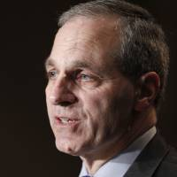 Photo - FILE - In this Nov. 21, 2011 file photo, former FBI director Louis Freeh, speaks during a news conference in Philadelphia. Freeh was airlifted to a hospital Monday, Aug. 25, 2014, after a single-car crash in Vermont, authorities said. State police said Freeh was taken by helicopter to a New Hampshire hospital with serious injuries following the crash in Barnard, a small town about 90 miles northwest of Boston. (AP Photo/Alex Brandon, File)