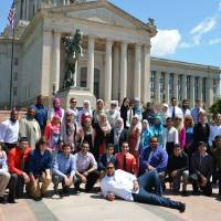 Photo - Youths who participated in the recent Muslim Youth Leadership Symposium pose for a picture in front of the state Capitol building in Oklahoma City. Photo provided