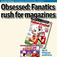 Photo - COLLEGE FOOTBALL: YOUR MANUAL FOR THE FOOTBALL ANNUALS / Obsessed: Fanatics rush for magazines GRAPHIC with photos: 1) Preseason college football magazines shot in the OPUBCO studio on Thursday, June 25, 2009, in  Oklahoma City, Okla.  Photo by Chris Landsberger, The Oklahoman 2) Preseason college football magazines shot in the OPUBCO studio on Thursday, June 25, 2009, in  Oklahoma City, Okla.  Photo by Chris Landsberger, The Oklahoman 3) Preseason college football magazines shot in the OPUBCO studio on Thursday, June 25, 2009, in  Oklahoma City, Okla.  Photo by Chris Landsberger, The Oklahoman 4) Preseason college football magazines shot in the OPUBCO studio on Thursday, June 25, 2009, in  Oklahoma City, Okla.  Photo by Chris Landsberger, The Oklahoman; Big 12 divisional predictions