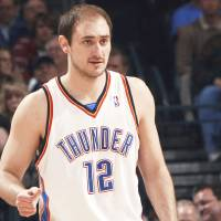 Photo - Nenad Krstic during the NBA basketball game between the Indiana Pacers and the Oklahoma City Thunder at the Ford Center in Oklahoma City, Sunday, April 5, 2009. Photo by John Clanton, The Oklahoman ORG XMIT: KOD