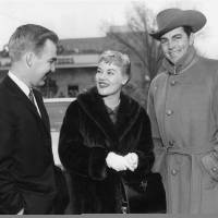 Photo - Singer Patti Page and actor Dale Robertson, right, are seen with Gov. J. Howard Edmondson at his inauguration in 1959. The Oklahoman Archives