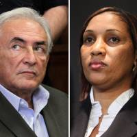 Photo - This combo made from file photos shows former International Monetary Fund chief leader Dominique Strauss-Kahn on May 19, 2011, left, and Nafissatou Diallo on July 28, 2011, in New York. A person familiar with the case says Strauss-Kahn and Diallo, a New York City hotel maid who accused him of trying to rape her, have reached an agreement to settle her lawsuit. The person spoke to The Associated Press on Thursday on condition of anonymity to discuss the private negotiation. The details of the deal are unknown. (AP Photo, File)