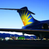 Photo - The tail of an Allegiant aircraft is shown. The Las Vegas-based airline begins a new nonstop flight between Oklahoma City and Orlando on Nov. 14.   - PROVIDED BY ALLEGIANT