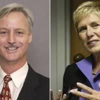 Photo - LEFT: Tim Gilpin, Board of Education member. RIGHT: Janet Barresi, state Superintendent