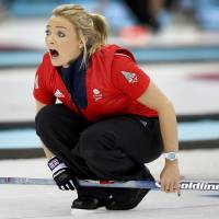Photo - Britain's Anna Sloan shouts instructions to her teammates during the women's curling competition against Japan at the 2014 Winter Olympics, Friday, Feb. 14, 2014, in Sochi, Russia. (AP Photo/Wong Maye-E)