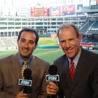 Photo - Tom Grieve, right, will rejoin Josh Lewin tonight on the Rangers' TV broadcast team.   PHOTO PROVIDED BY FSN SOUTHWEST  ORG XMIT: 0806262147450641