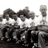 Photo - OU coaching staff, from left: Gomer Jones, unidentified, Bobby Drake Keith (third from left), unidentified, unidentified, Bud Wilkinson. PHOTO PROVIDED