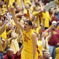 Photo - Iowa State forward Georges Niang (31) celebrates a 3-pointer during the first half of an NCAA college basketball game against Kansas, Monday, Feb. 25, 2013, in Ames, Iowa. (AP Photo/Justin Hayworth)
