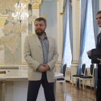 Photo - Russian Ambassador to Ukraine Mikhail Zurabov, right, and Pro-Russian rebel leader from Eastern Ukraine Andrei Purgin stand in Minsk, Belarus, on Monday, Sept. 1, 2014. A so-called contact group meets for talks in Minsk, the Belarusian capital, to reach agreement on a cease-fire. The group, which last met in late July, includes representatives of Ukraine, Russia and the Organization for Security and Cooperation in Europe. (AP Photo/Dmitry Brushko)