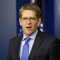Photo -   In this Nov. 27, 2012, photo, White House press secretary Jay Carney speaks during his daily news briefing at the White House in Washington. Senate Democrats are deeply divided over whether cuts to popular benefit programs like Medicare and Medicaid should be part of a plan to address the nation's financial problems, raising a big obstacle to an agreement to avoid the fiscal cliff, even if Republicans agree to raise taxes. Much of the focus during budget negotiations has centered on whether congressional Republicans would agree to raise taxes in exchange for spending cuts.